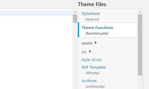 select theme functions file