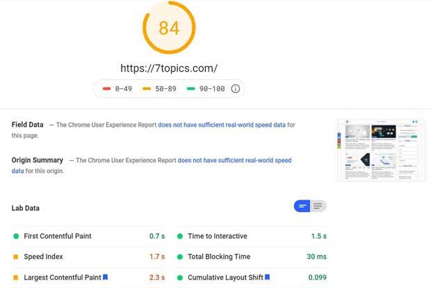 7topics PageSpeed Insight