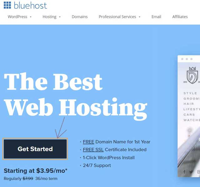 Get started with bluehost hosting