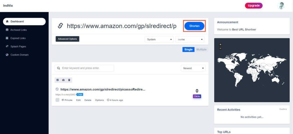 IndVix URL shorten